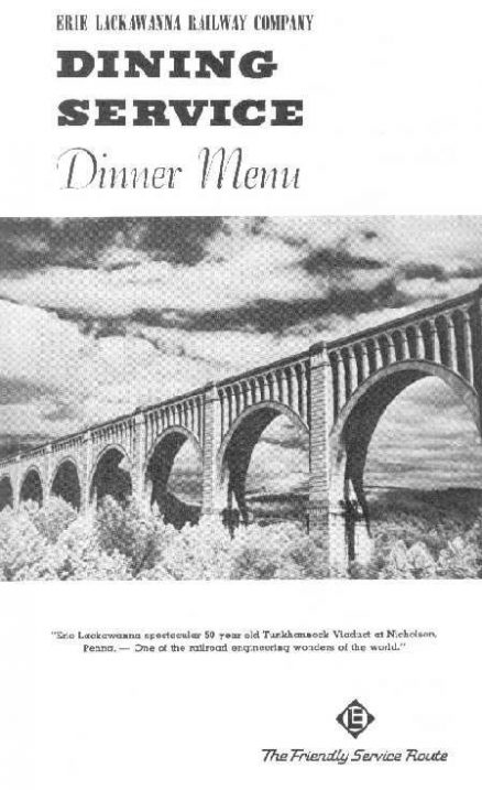 Erie Lackawanna Dinner Menu - August 15, 1968 1