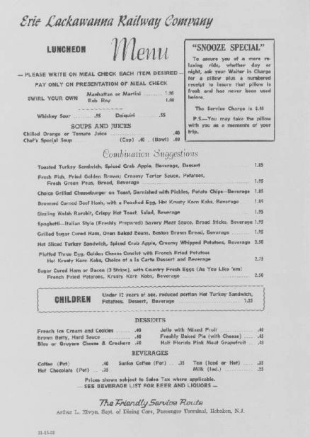 Erie Lackawanna Luncheon Menu - February 1969 1