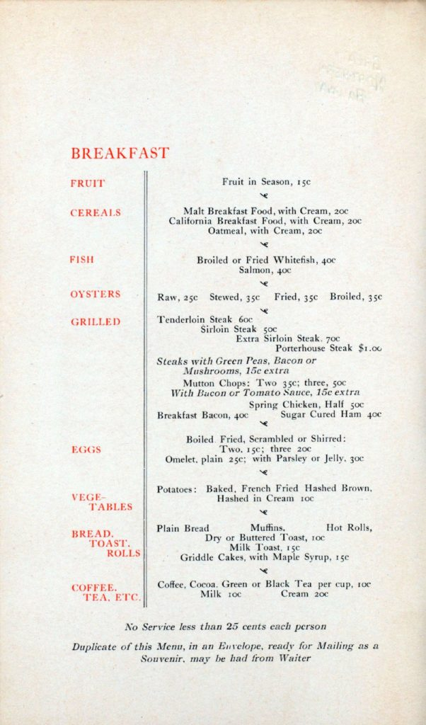 Menu Medley - Great Northern (before World War I) 47