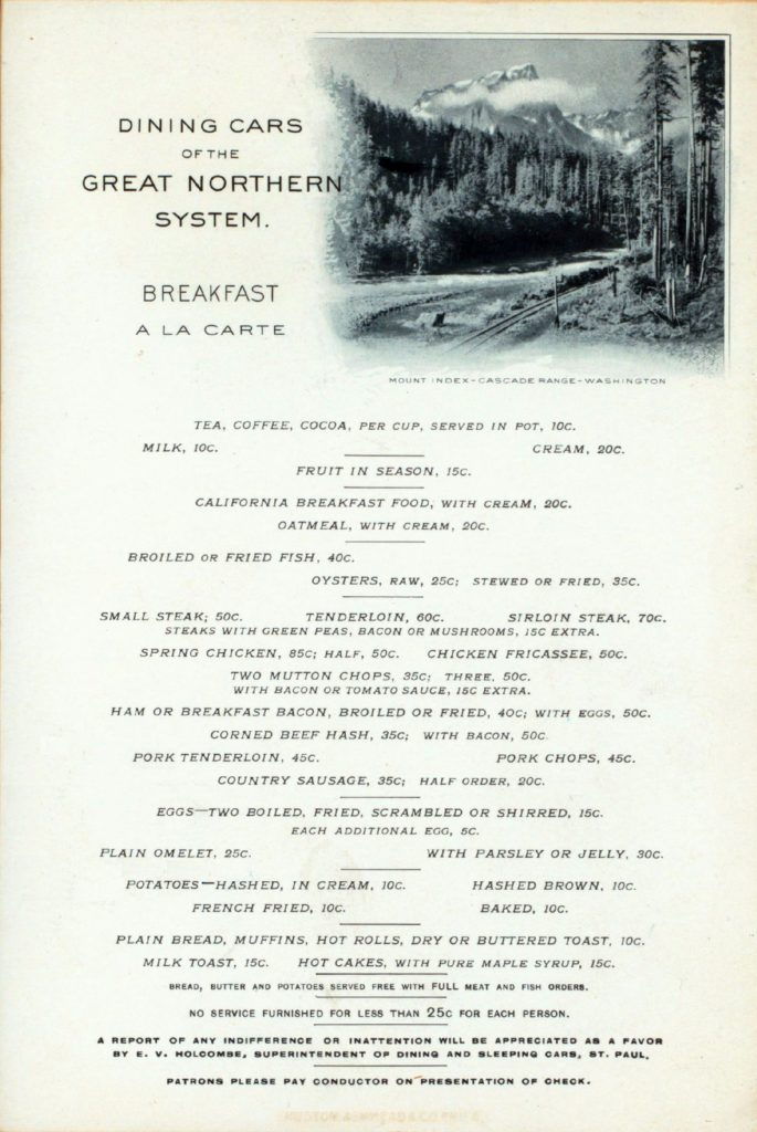 Menu Medley - Great Northern (before World War I) 45