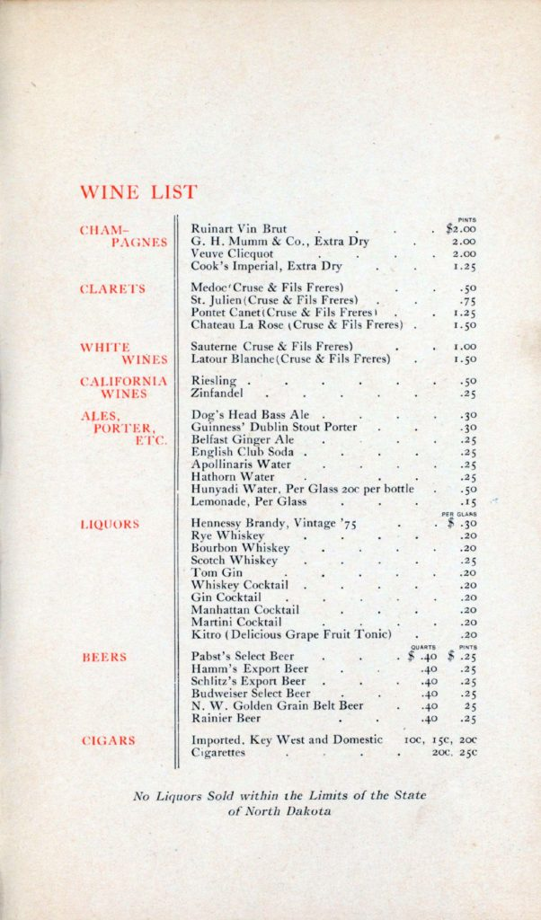 Menu Medley - Great Northern (before World War I) 4
