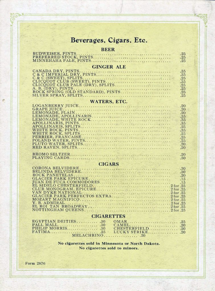 Menu Medley - Great Northern (before World War I) 55