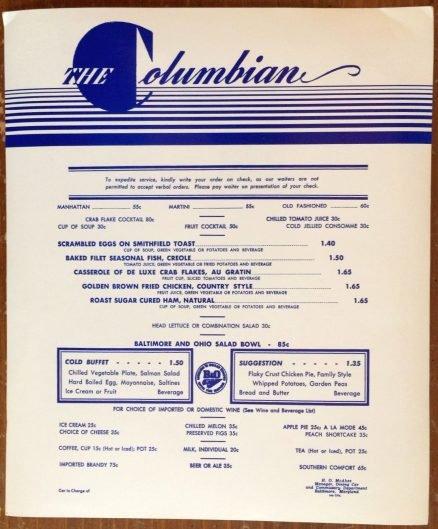 Baltimore & Ohio -  Columbian Lunch Menu - 1962 1