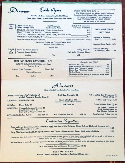 Illinois Central - Dinner Menu - May, 1970 3