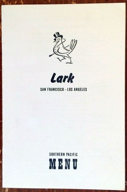Southern Pacific - Lark Supper Menu - October, 1961 1