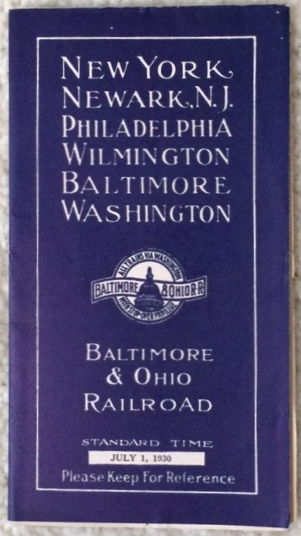 Baltimore & Ohio - New York, Philadelphia, Washington 7/1/1930 3