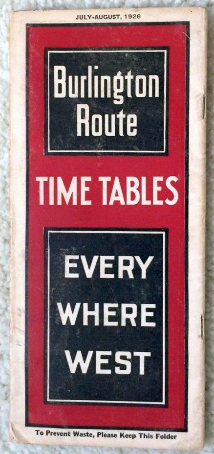 Burlington Route - CB&Q - System Timetable 7/1926 1