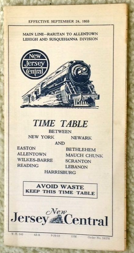 Central Railroad of New Jersey - Main Line Raritan to Allentown 9/24/1933 1
