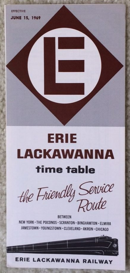 Erie Lackawanna System timetable Form 1 6/15/1969 - Last Issue 1