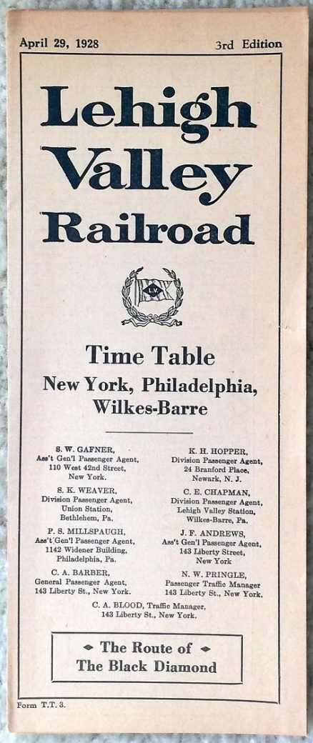 Lehigh Valley - System Timetable 4/29/1928 2