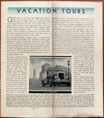 Pennsylvania Railroad and People's Rapid Transit Company - Vacation Tours 2