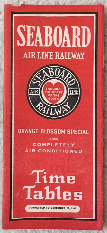 Seaboard Air Line - System Timetable 12/20/1933 1
