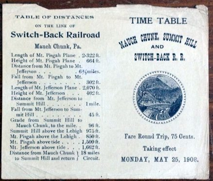 Mauch Chunk, Summit Hill and Switch-Back Timetable and Historical Sketch 1908 1