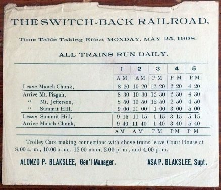 Mauch Chunk, Summit Hill and Switch-Back Timetable and Historical Sketch 1908 3