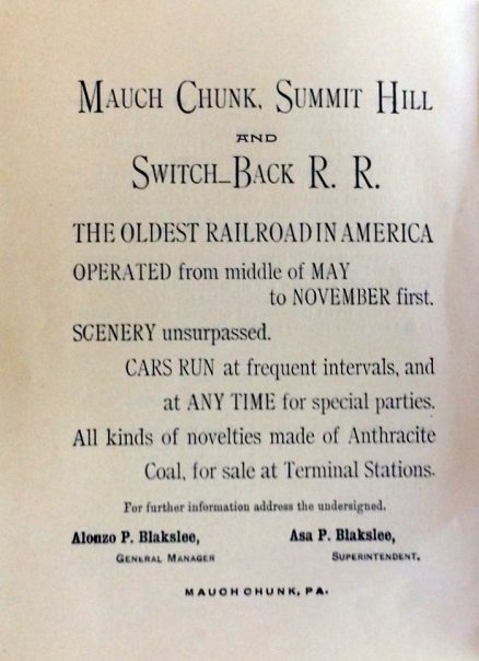 Mauch Chunk, Summit Hill and Switch-Back Timetable and Historical Sketch 1908 2