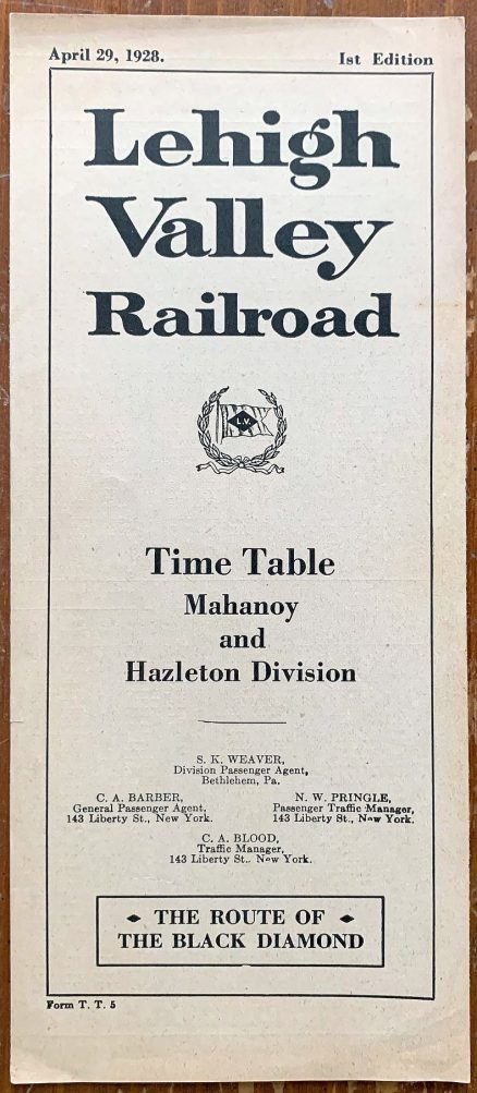 Lehigh Valley - Mahanoy and Hazleton Division Timetable 4/29/1928 1